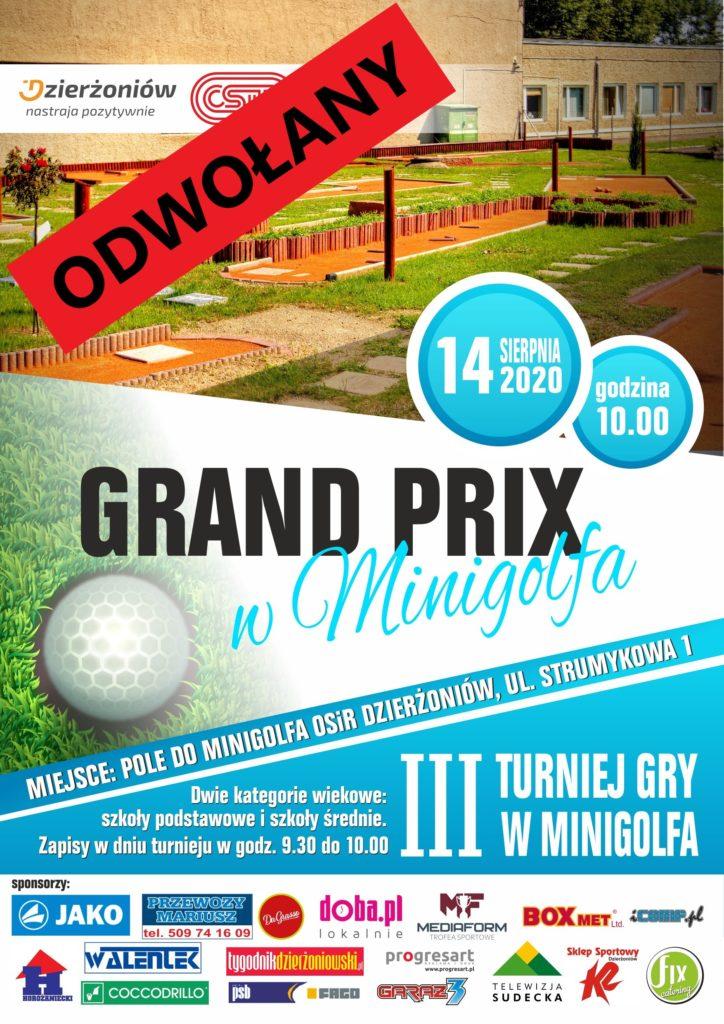 Plakat III Turniej Gry w Minigolfa - odwołany