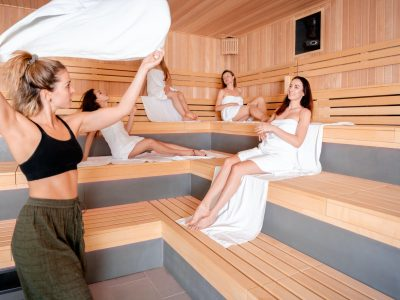 Sauna master making ritual in Finnish sauna