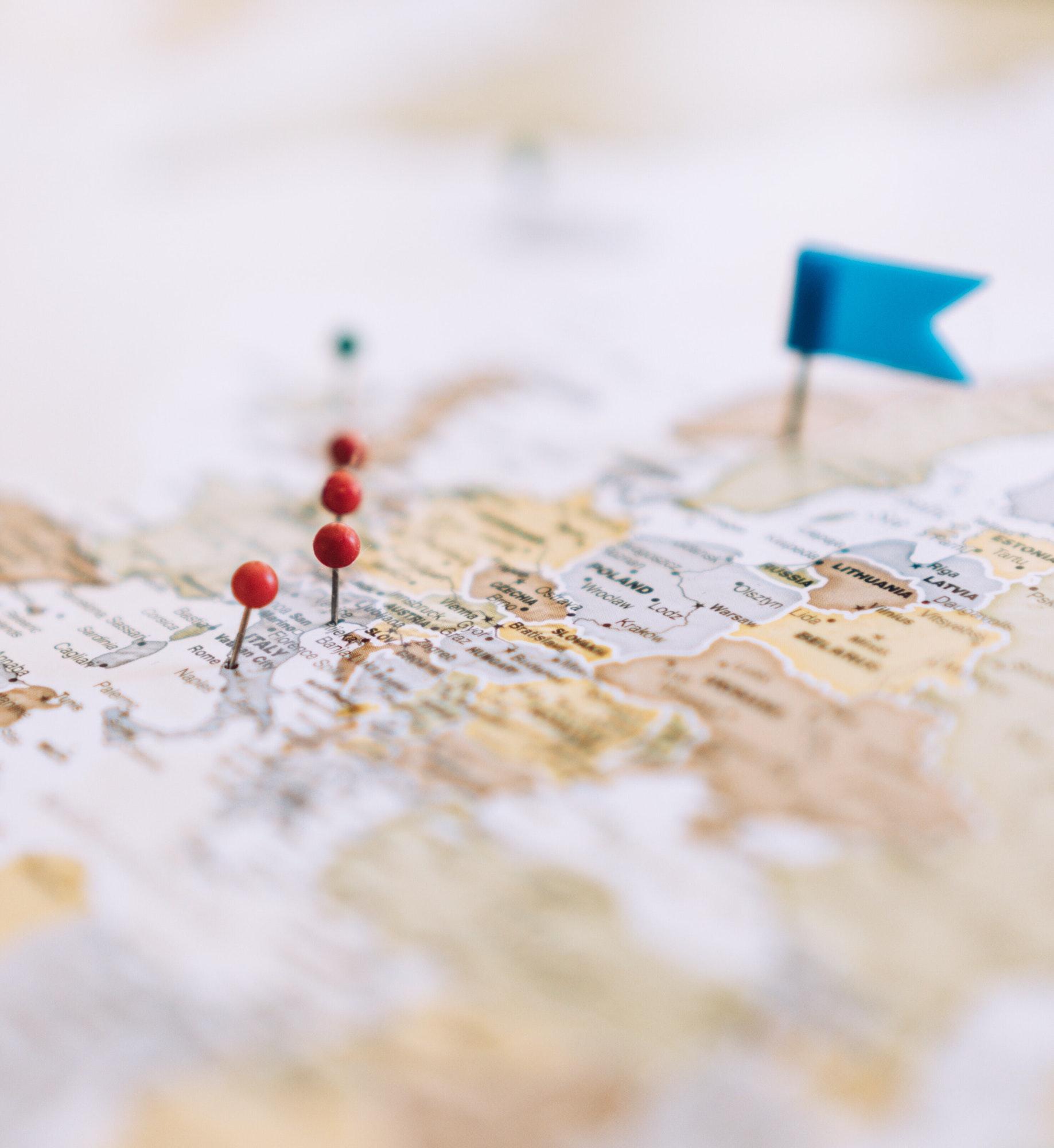 Travel destinations on map